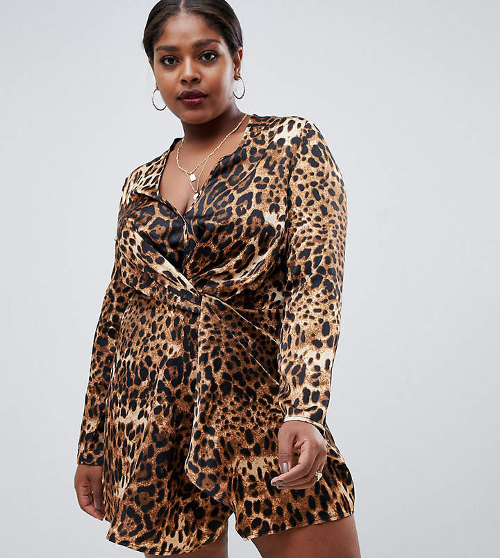 Missguided Plus twist front satin mini dress in leopard print