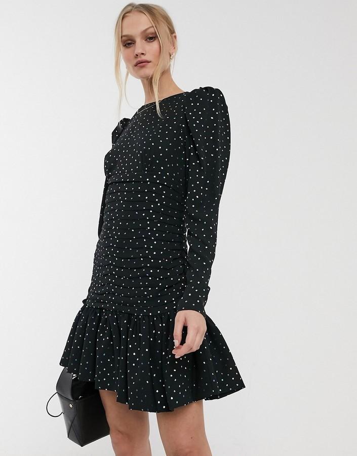 Essentiel Antwerp Vantonio pastel polka dot ruched mini dress