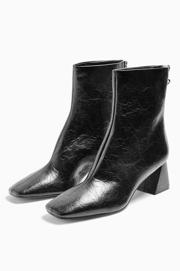 Topshop Womens Breeze Black Square Toe Boots - Black