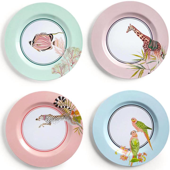 yvonne ellen set of 4 safari picnic dinner plates