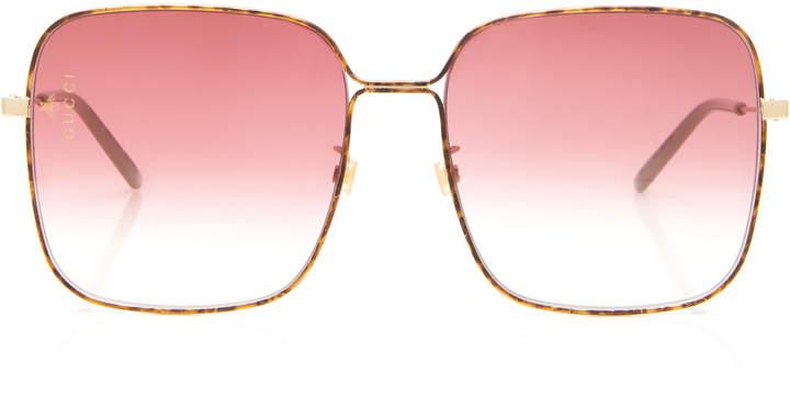 Gucci Sunglasses Light Glasant Oversized Metal Square-Frame Sunglasses