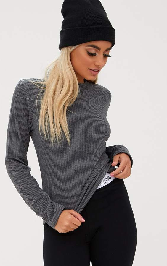 Grey Ribbed High Neck Longsleeve Top