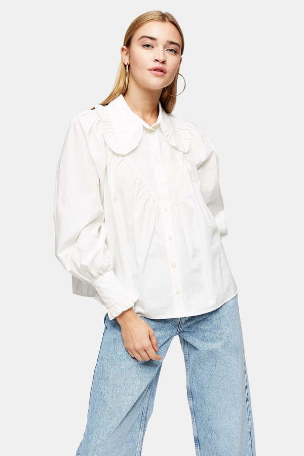 Womens White Poplin Ruffle Collar Blouse - White