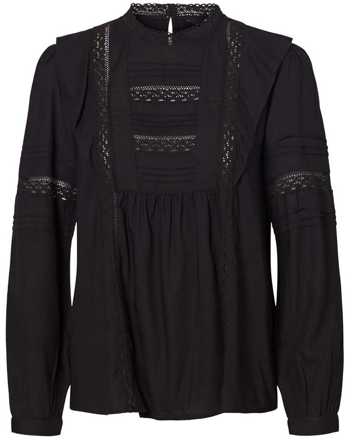 High Neck Ruffled Blouse with Embroidery and Long Sleeves