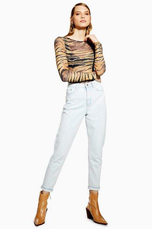 Topshop Womens Super Bleach Mom Jeans - Bleach Stone