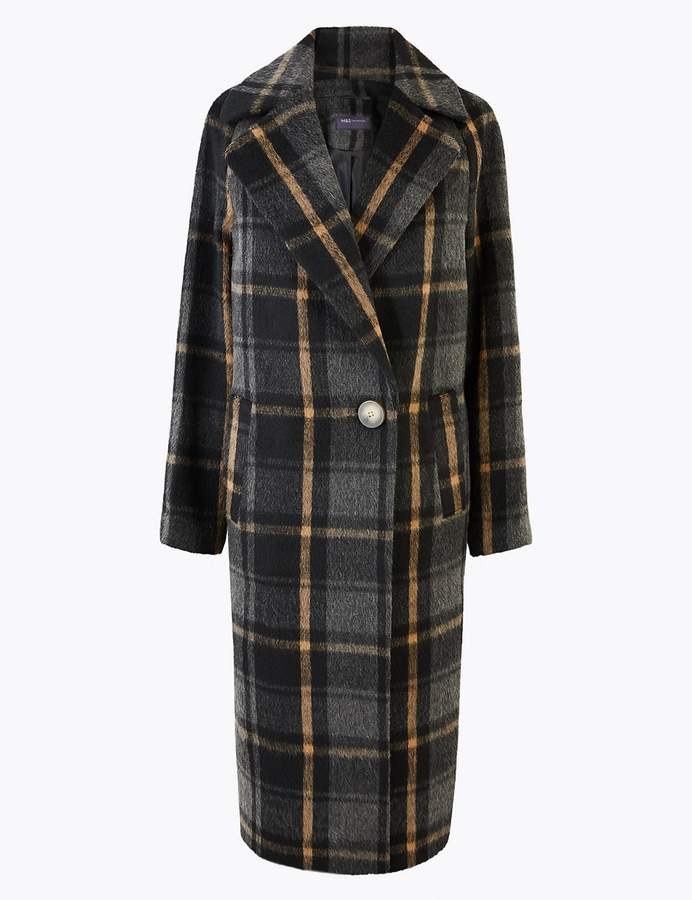 M&S CollectionMarks and Spencer Checked Cocoon Overcoat