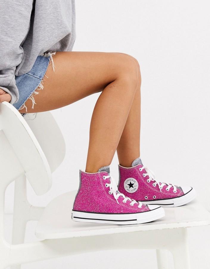Converse Chuck Taylor Hi Pink Glitter Sneakers