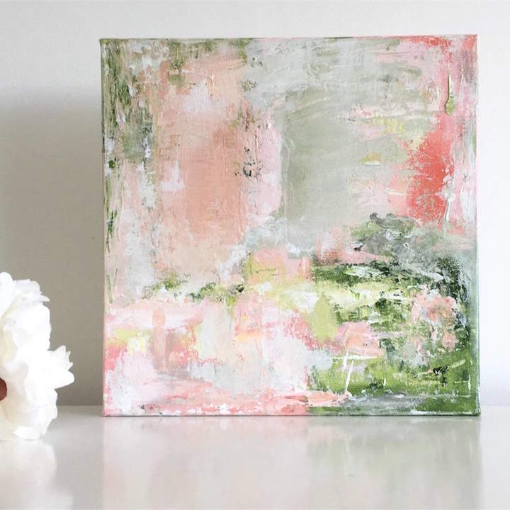 Paint-Me-Happy Art Pastel Pink Green Abstract Wall Art Original Canvas