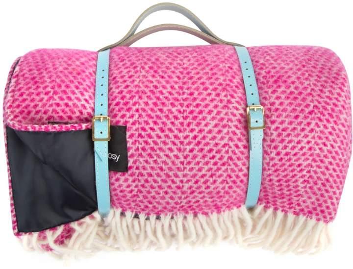 Heating & Plumbing London - Pure New Wool Waterproof Picnic Blanket Bubble Gum Pink