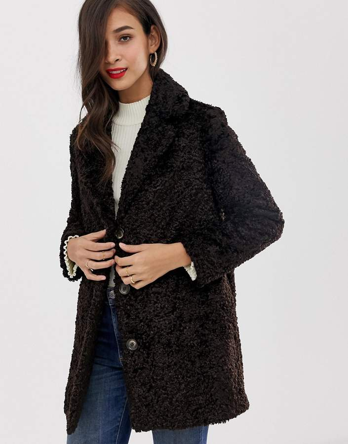 Helene Berman curly faux fur coat