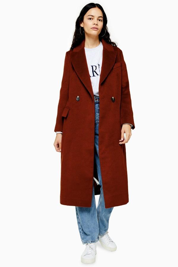 Topshop Womens Burgundy Longline Coat - Brick