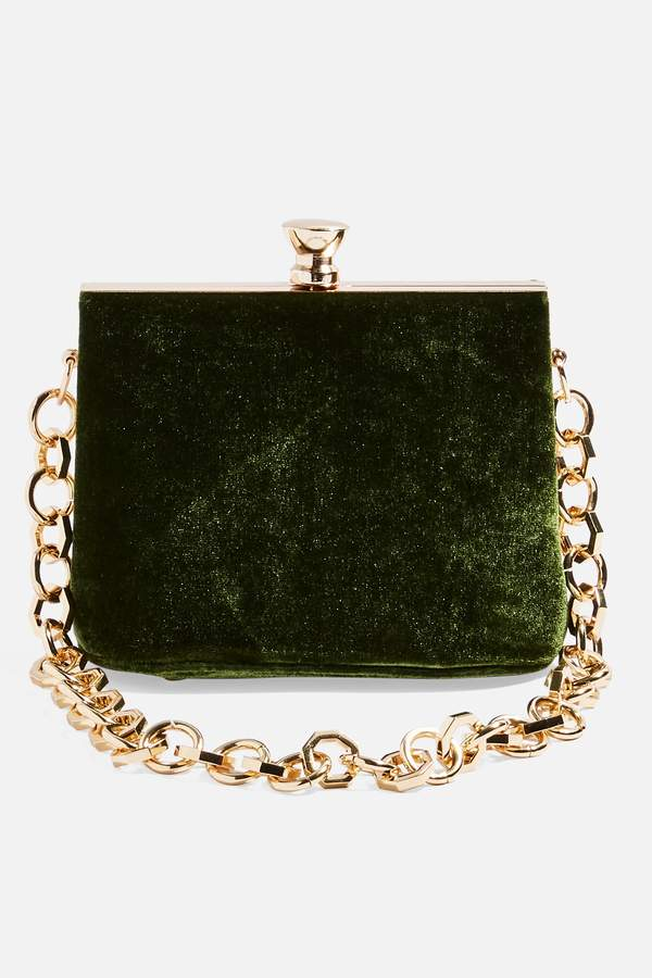 Topshop Womens Margot Velvet Frame Bag - Green