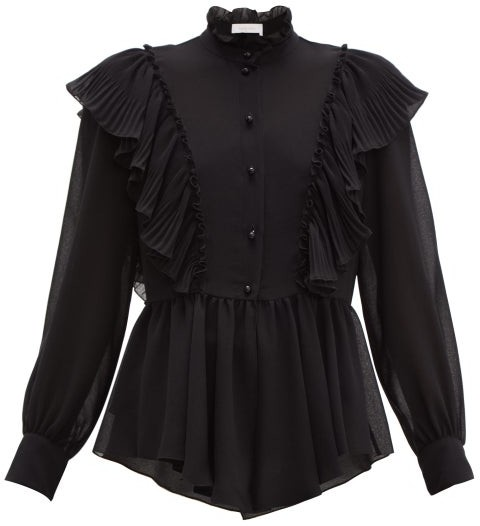 See By Chloe - Ruffled-collar Georgette Blouse - Black