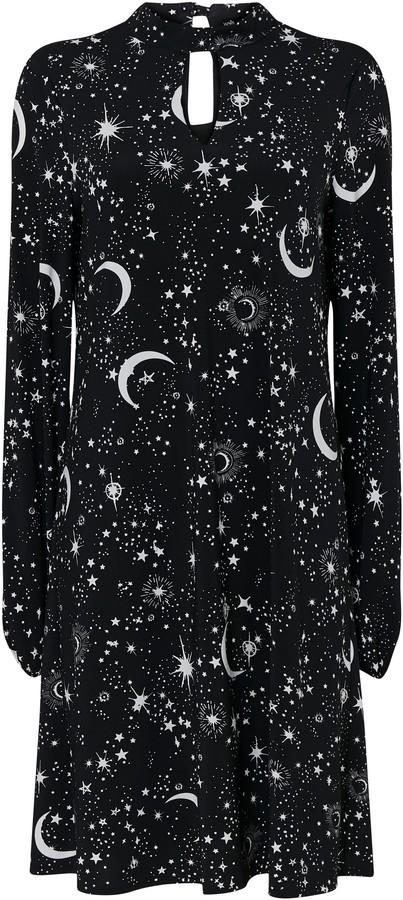 WallisWallis Black Star Print High Neck Swing Dress