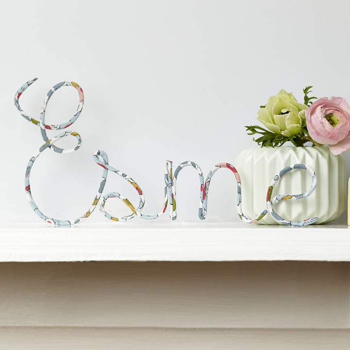Little Cloud Personalised Sign Liberty Betsy Pastel Fabric And Wire