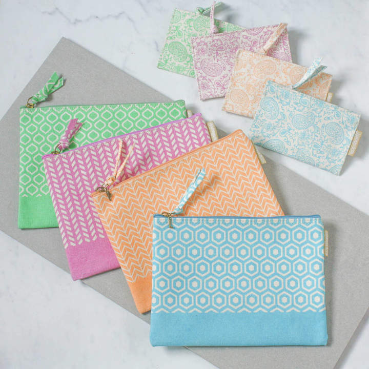 Heart & Parcel Recycled Pastel Geometric Paisley Personalised Pouches