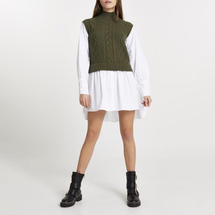 River Island Womens Green cable knit high neck shirt dress