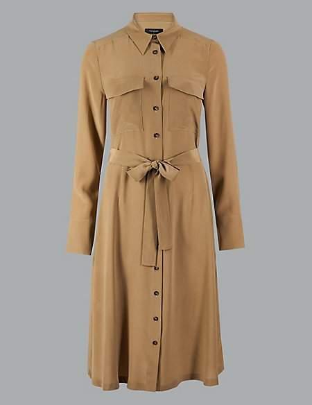 Autograph Pure Silk Long Sleeve Shirt Midi Dress
