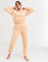 ASOS DESIGN Lounge fluffy rib funnel neck & jogger set