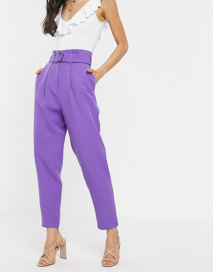 ASOS DESIGN paperbag trousers with d ring in lilac