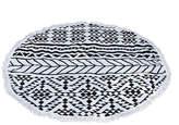 Black Geometric Round Cotton Beach Towel