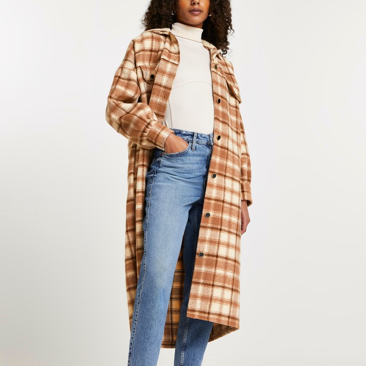 River Island Womens Brown check print hooded longline shacket