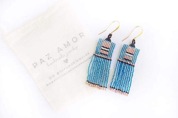 Geometric Beaded Earrings, Fringe Earrings, Boho Beaded Earrings, Statement Dangle Earrings, Moroccan style earrings, Blue Pink Earrings