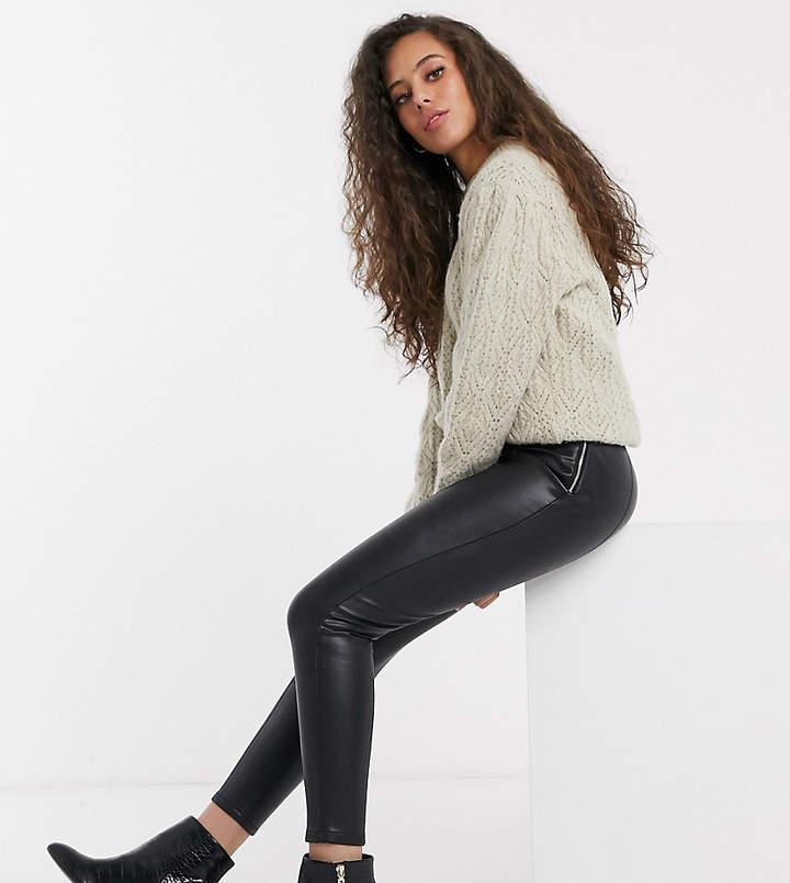 Miss Selfridge Petite faux leather trousers in black