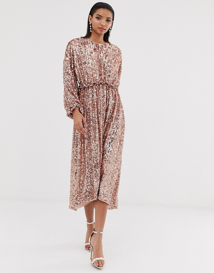 ASOS EDITION open back waisted midi dress in sequin
