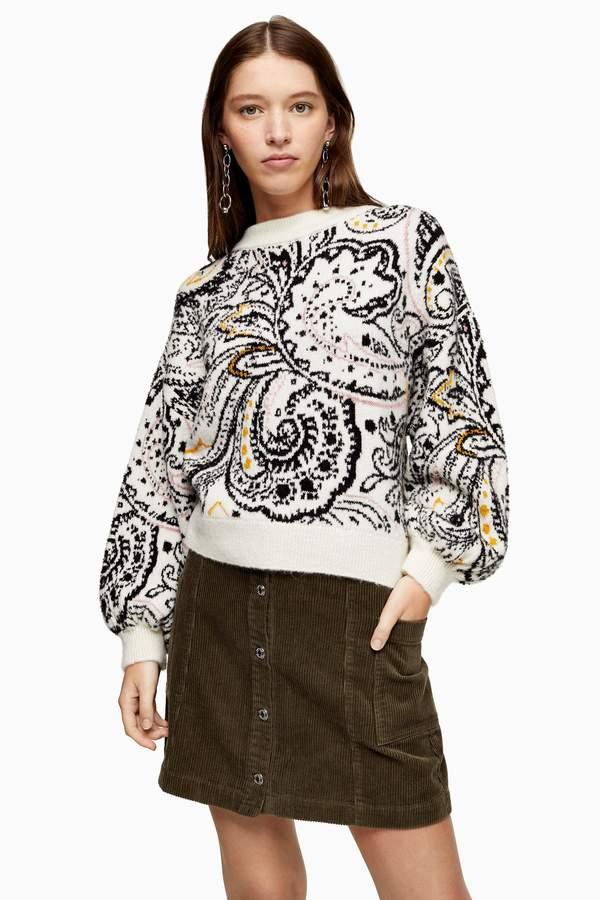 Knitted Paisley Floral Jumper
