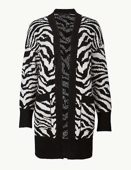 M&S Collection Animal Print Longline Cardigan