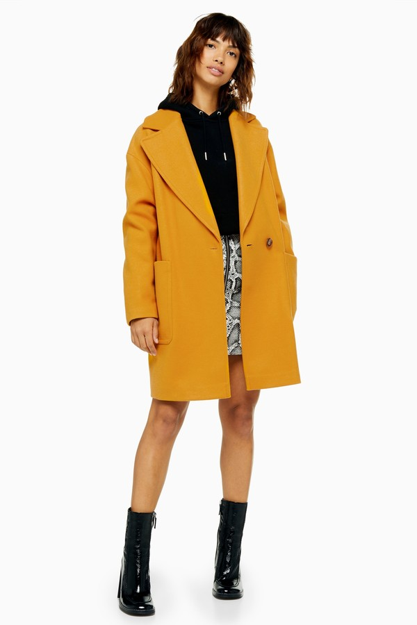 Topshop Womens Slouch Coat - Mustard