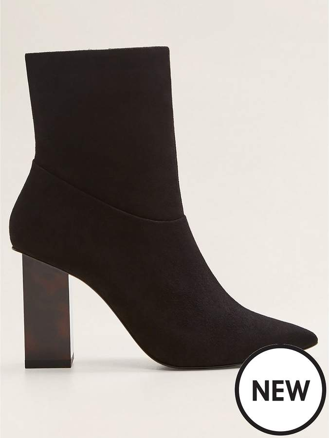 Mango Interest Heel Suede Ankle Boots - Black