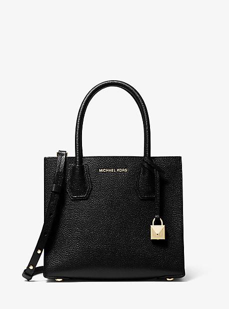 MK Mercer Medium Pebbled Leather Crossbody Bag - Black - Michael Kors