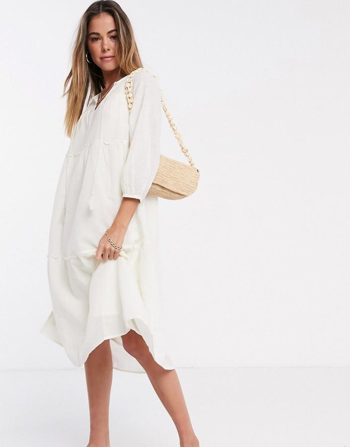Vero Moda smock midi dress with tie neck in cream
