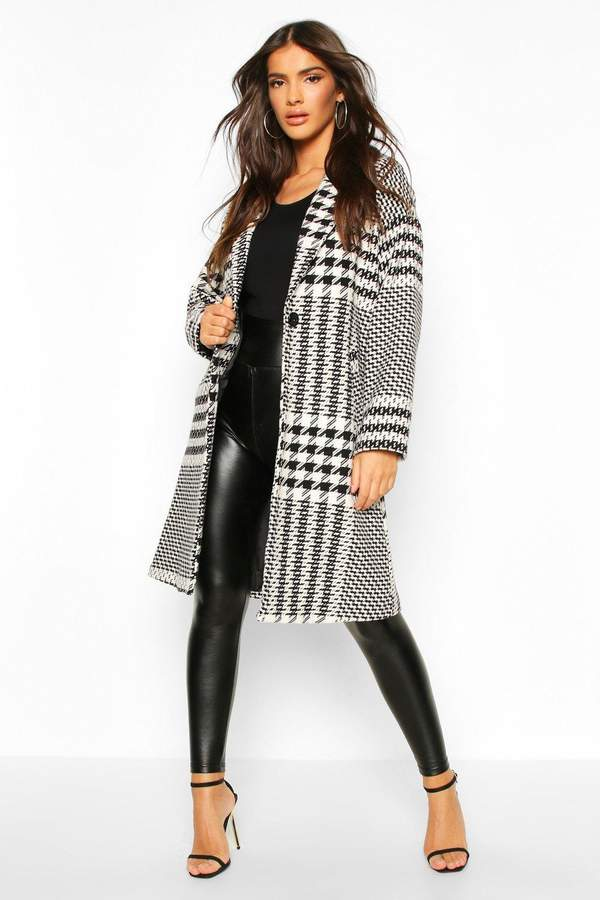 boohoo Dogtooth Check Tailored Wool Look Coat