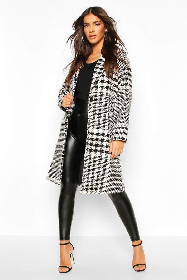 boohoo Dogtooth Check Tailored Wool Look Coat
