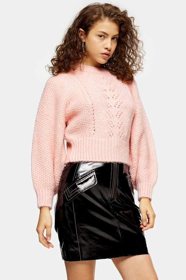 Topshop Womens Petite Pink Knitted Pointelle Crop Jumper - Pink