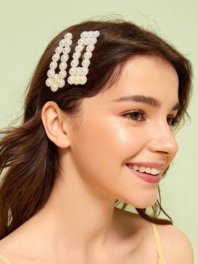 Romwe Faux Pearl Design Hair Snap Clip 2pcs