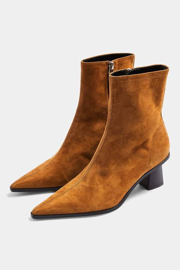 Topshop Womens Maile Leather Tan Point Boots - Tan