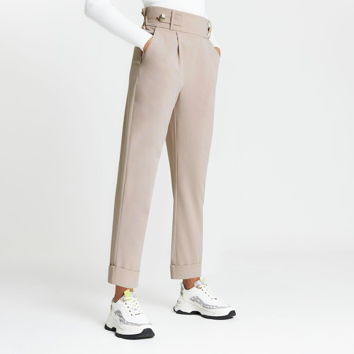 River Island Womens Beige pleated peg leg trousers