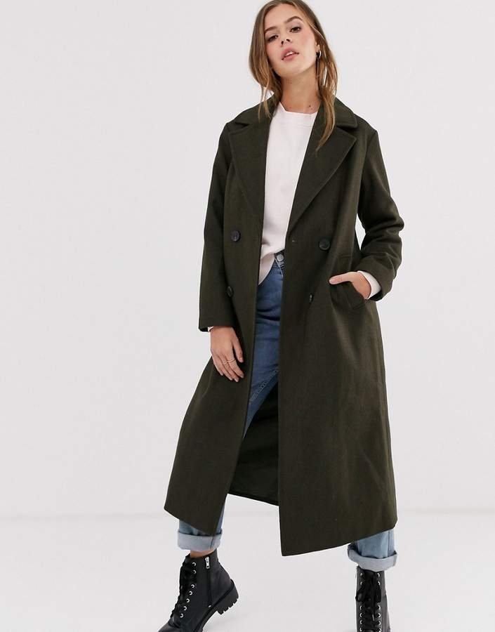 New Look tailored maxi coat in khaki