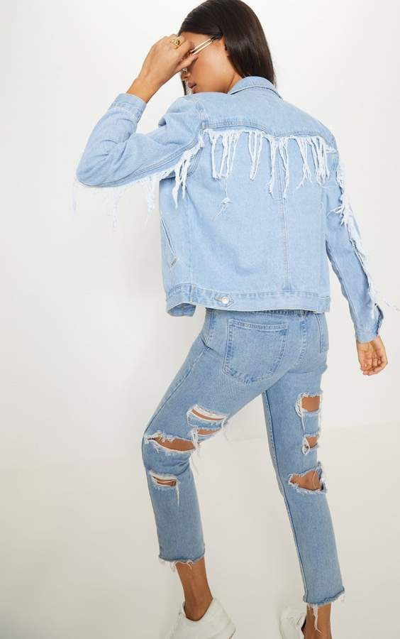 Light Wash Fringe Back Denim Jacket
