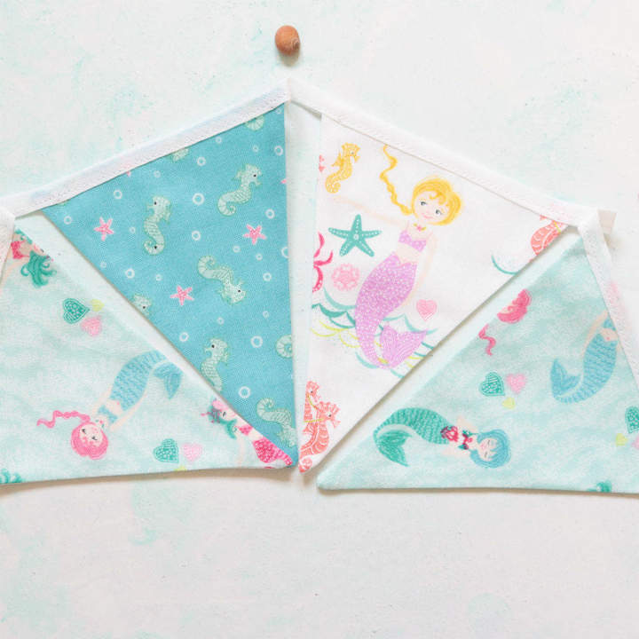 The Bunting Basket Mermaids And Seahorses Cotton Mini Bunting