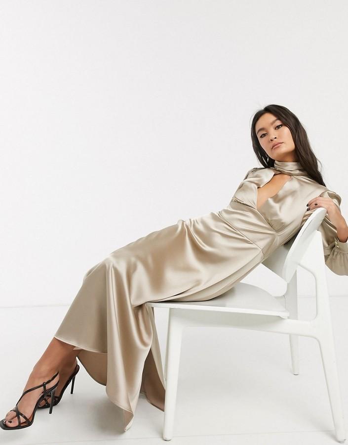 Topshop satin maxi dress in gold
