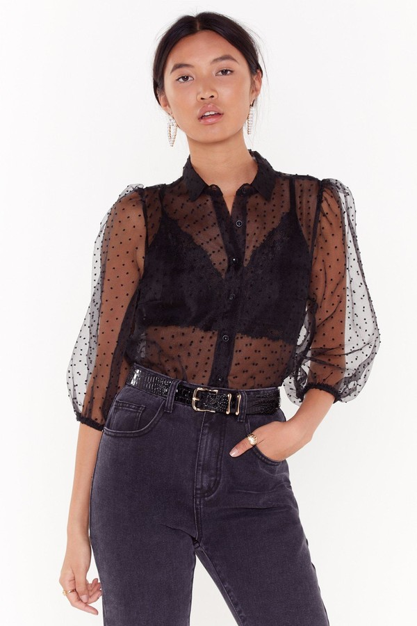Womens Dot Damn Polka Dot Organza Blouse - Black - M