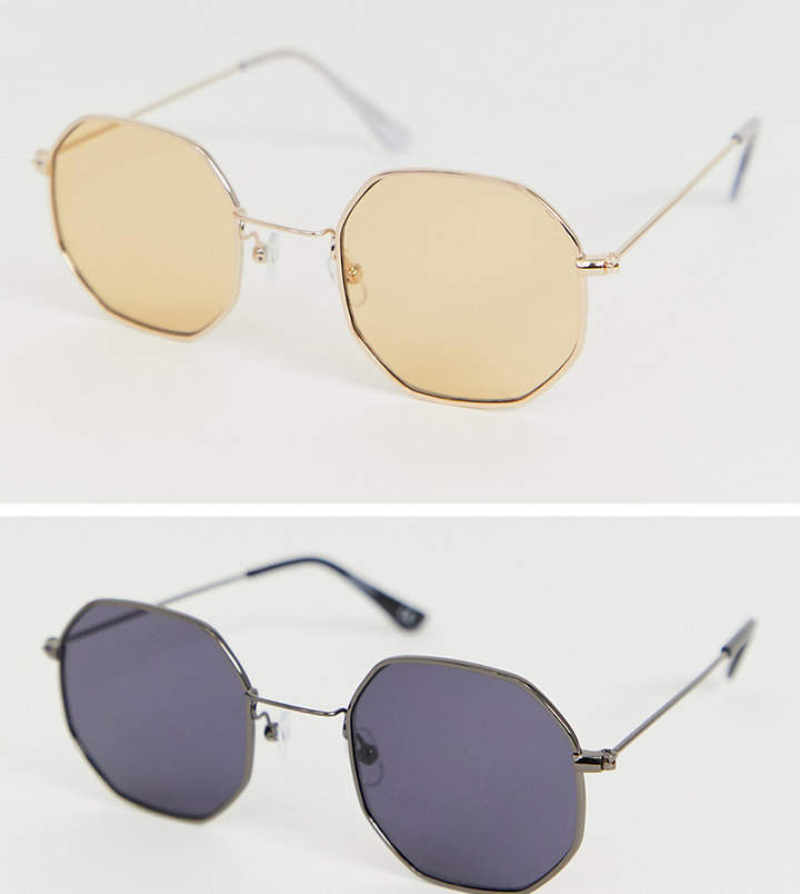Asos Design ASOS DESIGN 2 pack metal hexagon sunglasses in gold and matt black