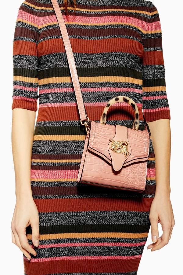Topshop Womens Twist Snake Cross Body Bag - Nude