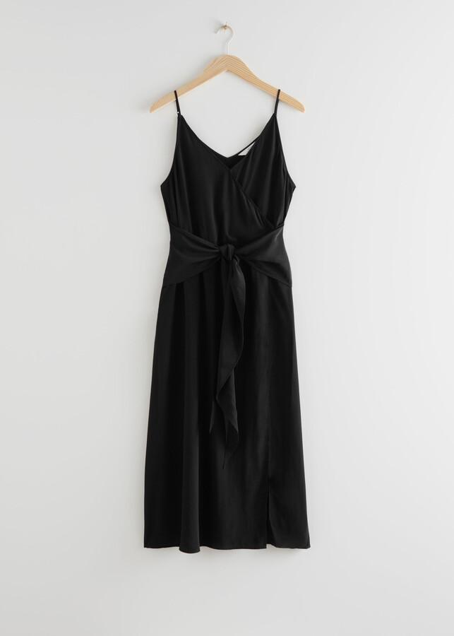 & Other Stories V-Neck Waist Tie Midi Date Night Dress