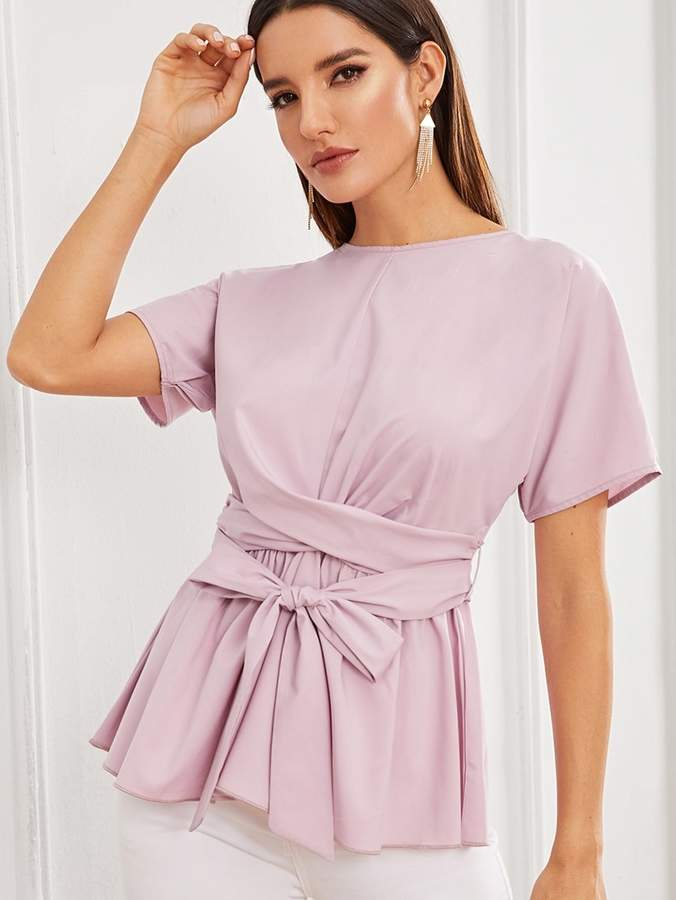 Shein Solid Belted Peplum Top